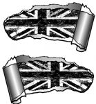 Small Pair Ripped Torn Metal Gash Design & B&W Grunge Union Jack Vinyl Car Sticker 93x50mm each